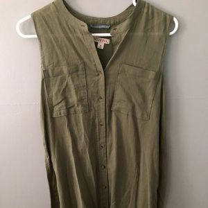 Tunic button down olive shirt